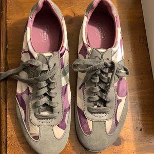 Purple grey coach sneakers